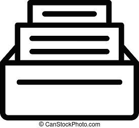 petición, icono, archivos, contorno, estilo