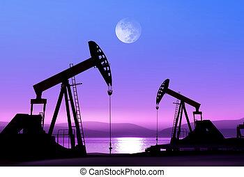 petróleo bombea, noche