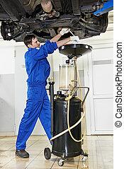 petróleo motor, mecánico, reemplazar, motor del coche