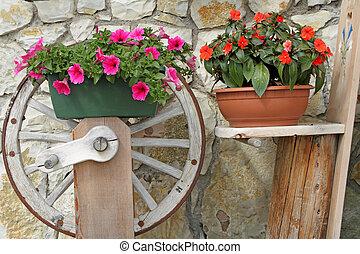 Petunia púrpura e impaciencia roja en ollas rústicas