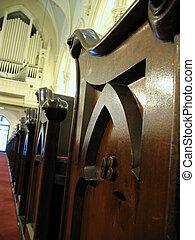 pew, órgano, iglesia