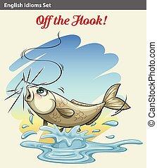 pez, agarrado, obteniendo