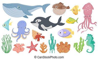 pez, animals., erizo, azul, vector, seahorse., caricatura, conjunto, vida, divertido, pulpo, mar, lindo, ilustración, ballena, orca., submarino, océano, calamar