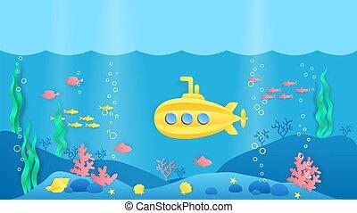 pez, arrecife, escena, style., submarino, marina, coral, paisaje, caricatura, vector, submarine., papel, algas marinas, corte, océano