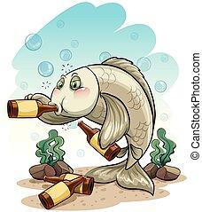 pez, borracho, mar, debajo