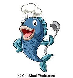 pez, chef, caricatura, cucharónpara sopa, tenencia