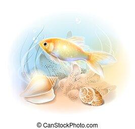 Pez dorado en el mar. La ilustración del mundo submarino tropical. Pescado de acuario.