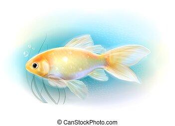 Pez dorado en el mar. Pescado de acuario. Ilustración realista