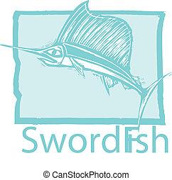 Pez espada en azul