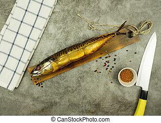 pez, fumados, apetitoso, board., cocina, especias