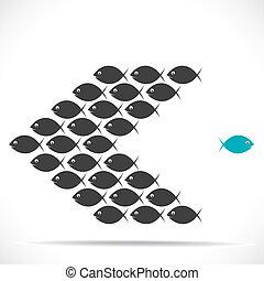 pez, movimiento, dirección, contrario