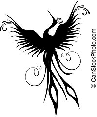 phoenix, pájaro, figura, aislado