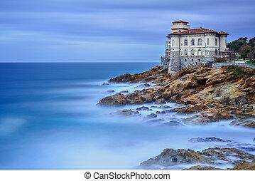 photography., boccale, italy., toscana, largo, sea., roca, señal, castillo, acantilado, exposición