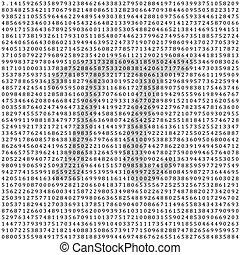 Pi - 3.1415 - columna matemática de cifras vector de fondo