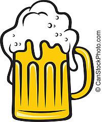 pichel, cabeza grande, cerveza, espumoso