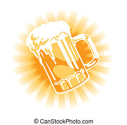 pichel, cerveza, vector.