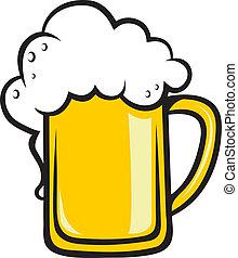 pichel, dorado, cerveza, espumoso