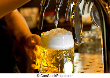 pichel, el verter, cerveza, espumoso, hombre