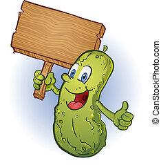 Pickle sosteniendo un dibujo animado