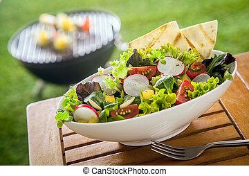 picnic, ensalada, sano, vegetariano, verde, fresco, tabla, frondoso