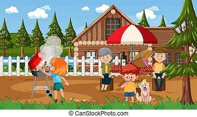 picnic, teniendo, escena, familia , al aire libre, feliz, naturaleza