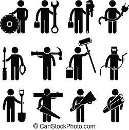 pictog, trabajo, trabajador construcción, icono