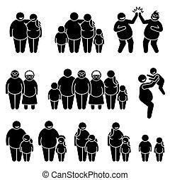 pictogram, familia , posición, gente, obeso, figura, grasa, sobrepeso, palo, juntos, icons.