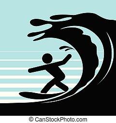 Pictograma de una persona surfeando agua.