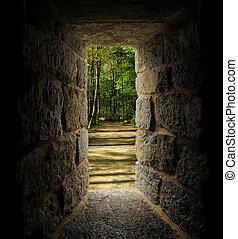 piedra, árboles, pasaje, ventana, castle-like, por, trayectoria, o, visto, afuera