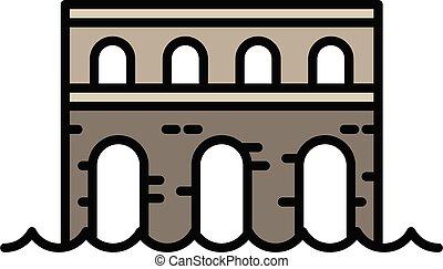 piedra, contorno, puente, icono, estilo