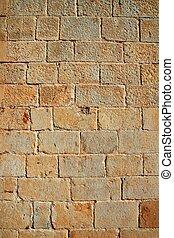 piedra, filas, pared, patrón, textura, tallado, castillo, albañilería