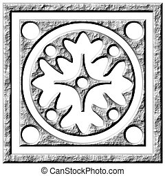 piedra, ornamento, 3d
