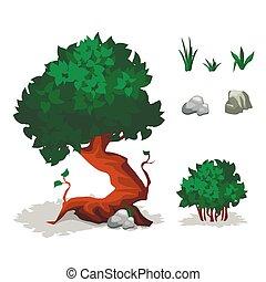 piedra, plants., árboles, pasto o césped, arbustos, verde