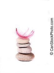 Piedra y pluma rosa