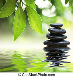 piedras, agua, pirámide, zen, superficie