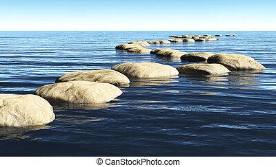 piedras, agua, trayectoria
