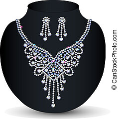piedras, collar, precioso, ella, boda