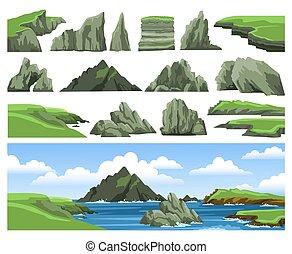 piedras, colorido, paisaje, scenery., acantilados, rocas, mar, elements., azul, panorámico, clouds., conjunto, cielo, montañas