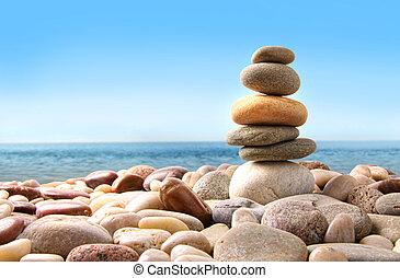 piedras, guijarro, blanco, pila