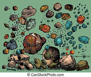 piedras, vuelo, rocas