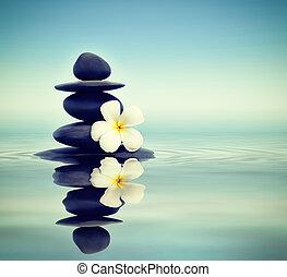 Piedras Zen con frangipani