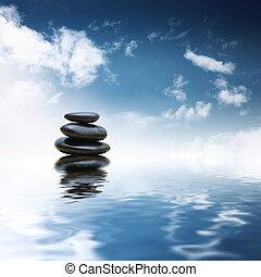 Piedras Zen sobre el agua