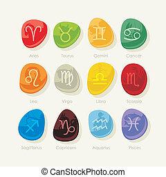 piedras, zodíaco, conjunto, señales