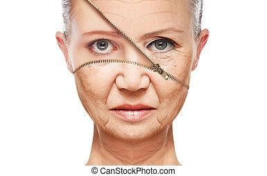 piel, aging., elevación, anti viejo, facial, rejuvenecimiento, concepto, apretar, procedimientos