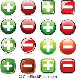 piel, exposición, color, botones, agregar, vector, o, borrar