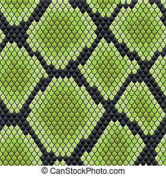 piel, patrón, reptil, verde, seamless
