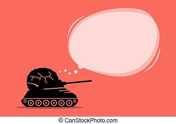 Piensa en el cerebro de tanque pensando con una burbuja de pensamiento vacía en la parte superior.