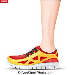 Pierna con zapatillas deportivas