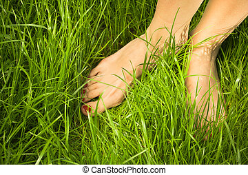 pies, mujer, descubierto