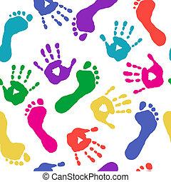 pies, pinturas, impresiones, manos